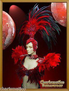 Charismatico RED Drag Queen  SAMBA RIO CARNIVAL Feather Headdress+shoulder piece