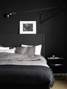 Discover sleek and sexy signature interior styles with the top 50 best black bedroom design ideas. Explore cool dark wall colors and luxury decor accents. Interior Design Examples, Interior Design Inspiration, Modern Bedroom Decor, Home Bedroom, Bedroom Ideas, Bedroom Wall, Modern Mens Bedroom, Trendy Bedroom, Bedroom Inspo