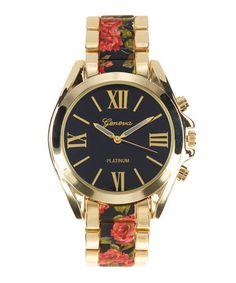 Love this Black Flower Bracelet Watch on #zulily! #zulilyfinds