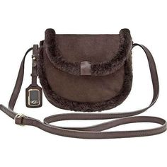 UGG Australia Accessory's shearling Mini Crossbody Chocolate... ($225) ❤ liked on Polyvore featuring bags, handbags, shoulder bags, brown, handbags crossbody, crossbody shoulder bags, crossbody handbags, shoulder handbags und brown purse