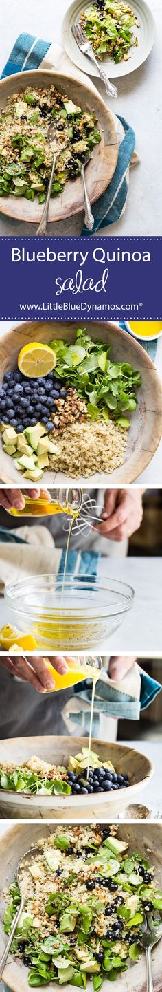 This blueberry quinoa power bowl is just that- power in a bowl. Packed with the goodness of frozen blueberries, walnuts, watercress and quinoa, the lemon vinaigrette adds a zesty kick to this bowl that's perfect for spicing up work lunches. Healthy Snacks, Healthy Recipes, Healthy Eats, Delicious Recipes, Yummy Food, Fast Recipes, Skinny Recipes, Tasty, Blueberry Quinoa Salad