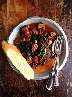 sweetsugarbean: Bison & Bean Stew with Wilted Swiss Chard
