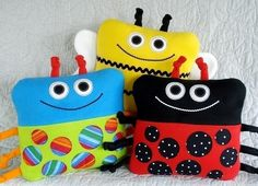Toy Sewing Pattern - PDF ePATTERN for Beetle, Bee and Ladybug Pillows