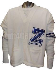 "White Zeta Phi Beta Varsity Letter Cardigan with Royal Blue Stripes and Large ""Z"""