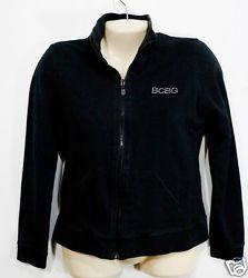 Women's BCBG Sport - Black Zip Front Top  Size S Small Rhinestones Crown