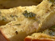Roasted Garlic Bread Recipe : Jamie Deen - Made this to go with baked ziti. I loved this bread. A little citrusy, and the fresh herbs pop. Still rich and garlicky like normal bread, but with a twist. Roasted Garlic Bread Recipe, Jamie Deen, Pasta, The Fresh, Food Network Recipes, Italian Recipes, Bread Recipes, Yummy Food, Kitchens