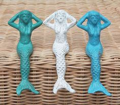 Beach Decor Sea Ocean Blue Mermaid Distressed by by SEASTYLE, $16.00