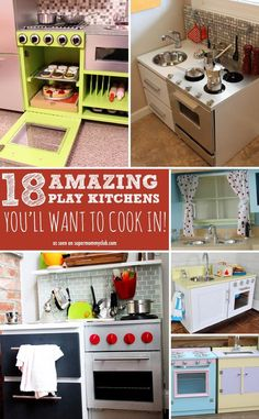 These DIY play kitchens are so amazing you& want to cook in them yourself! These DIY play kitchens are so amazing youll want to cook in them yourself! Diy Play Kitchen, Toy Kitchen, Play Kitchens, Kitchen Playsets, Cuisines Diy, Kids Furniture, Playhouse Furniture, Cardboard Furniture, Recycled Furniture