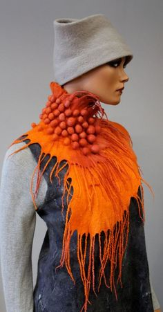 WOW wearable sculptural art, that colour sings! Felted scarf 'Fruit Sorbet' by doseth on Etsy. Dragon Collar for my Dinatopian costume. Shibori, Body Adornment, Neck Piece, Sculptural Fashion, Nuno Felting, Needle Felting, Fashion Art, Fashion Design, Fabric Manipulation