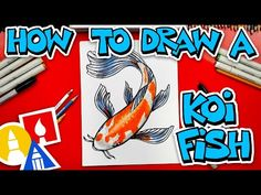 (3) How To Draw A Koi Fish - YouTube Art For Kids Hub, Art Lessons For Kids, Coy Fish, Small Canvas Paintings, Easy Cartoon Drawings, Sketching Techniques, Art Supply Stores, Simple Cartoon, Watercolor Animals