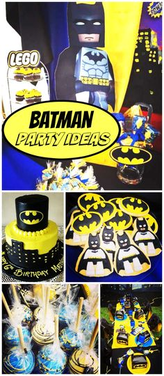 How cool is this Batman Lego party? Awesome dessert table! See more party planning ideas at CatchMyParty.com!