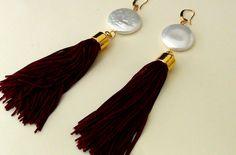 Long Tassel Bordeaux Earrings  Boho earrings di Frammentidivetro