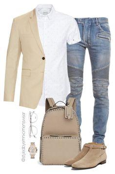 Neat by efiaeemnxo on Polyvore featuring polyvore moda style Jack & Jones Michele Balmain Burberry Valentino Yves Saint Laurent fashion clothing menswear sbemnxo styledbyemnxo