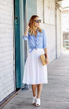 Ella Moss White Eyelet Skirt by Damsel In Dior Petite keeper chambray shirt item 74120 - jcrew White Eyelet Skirt, White Skirts, White Lace, White Dress, White Denim, White Cotton, Black White, Modest Fashion, Fashion Outfits