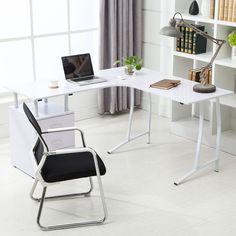 White L-Shape Corner PC Computer Desk Home Office PC Table Workstation #Uenjoy #Modern