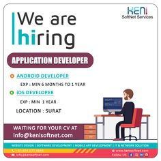 We are hiring Mobile Application Development, Software Development, Poster Design Software, Hiring Poster, It Service Provider, Android Developer, We Are Hiring, Network Solutions, It Network