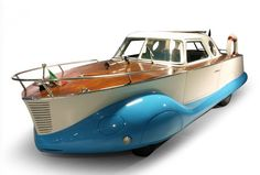 "carsthatnevermadeitetc: ""Through the round window, part 10 Fiat 1100 Boat Car, 1953 by Carrozzeria Coriasco. NOT amphibious but a coachbuilt promotional vehicle for the ""Scarani"" Nautical School in. Strange Cars, Weird Cars, Crazy Cars, Course Vintage, Automobile, Amphibious Vehicle, Car Wheels, Water Crafts, Amazing Cars"