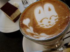 cartoon cat latte