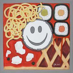 """andrea mattiello """"Food"""" acrilico e grafite su tela cm 30x30; 2015 #andreamattiello  #artistaemergente #emergingartist #artecontemporanea #contemporaryart #food #expo2015milano"""
