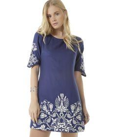 Vestido com Bordado Dress To Azul Marinho - cea