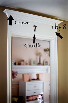 Adding drama to inside doorways with crown molding.