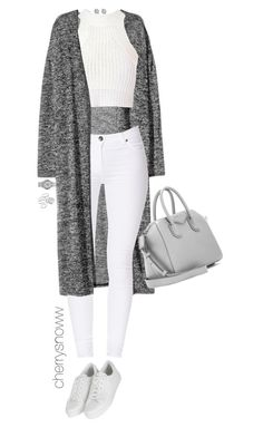 """""""Classy swag white & grey outfit"""" by cherrysnoww ❤ liked on Polyvore featuring Yves Saint Laurent, H&M, Glamorous, Dr. Denim, Topshop, Givenchy, Marc by Marc Jacobs and Apt. 9"""