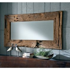 NATUR UNIKAT Wandspiegel massiv Teak Holz Spiegel Altholz edel 180cm Antik Natur