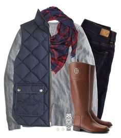 """""""Plaid, navy & gray"""" by steffiestaffie ❤ liked on Polyvore featuring American Eagle Outfitters, J.Crew, Tory Burch, Forever 21, Marc by Marc Jacobs and Accessorize #casualfalloutfits"""
