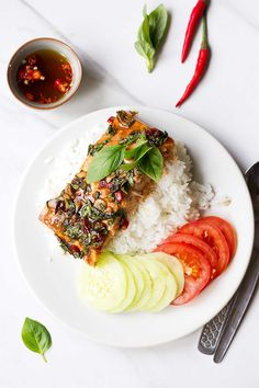 Baked Thai Salmon with Chili, Basil and Garlic!