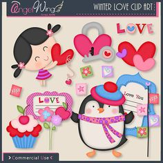 Winter Love Clip Art by AngelWingScraps on Etsy