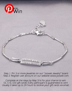"""Step 1: Pin 3 or more of favorite jewelry on our """"Joowel Jewelry"""" board http://www.pinterest.com/JoowelJewelry/joowel-jewelry/ Step 2: Register user account on our official website www.joowel.com Complete all the steps by May 31st for your chance to win $5, $10, $50 gift cards!  Every participant is guaranteed to win! Usually it takes up to 24 hours to receive your gift cards via email."""