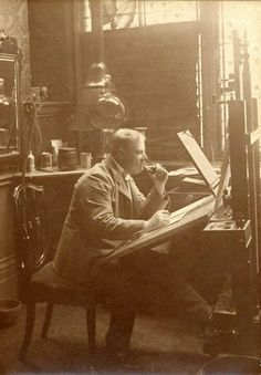 Edward Linley Sambourne at work in the drawing room of 18 Stafford Terrace c.1893