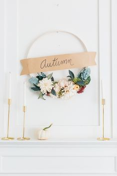 Fall Wreath-I've been enjoying planning for fall and seeing my style evolve once again. I go back and forth whether or not I should paint this entire wall blue or leave it as is. What do you thin...