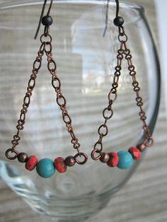 Turquoise Chandelier Earrings, Czech Glass Earrings, Dangle Earrings, Chain Earrings