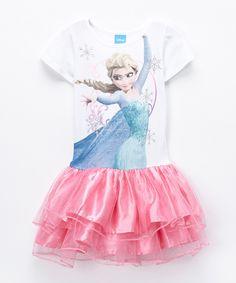 Look what I found on #zulily! White & Pink Elsa Tiered Dress - Girls by Frozen #zulilyfinds