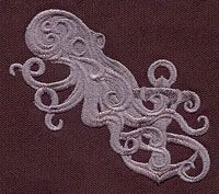 """""""Baroque Punk Squid""""  Craft a fancy look with a punky twist! Stitched in just one color, this tattoo-style motif is digitized with lots of detail and dimension.  -  UT4138 (Machine Embroidery)  00358365-102912-0745-8"""
