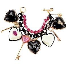 Pre-owned Betsey Johnson Charm Bracelet Heart Keys Marilyn Lips Black... (1.110 VEF) ❤ liked on Polyvore
