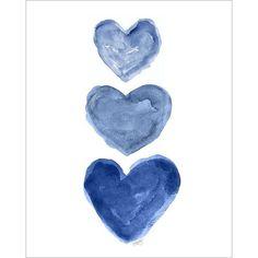 Indigo Watercolor Heart Art Print 8x10, Nautical Nursery Art, Navy... ❤ liked on Polyvore featuring home, home decor, wall art, filler, navy home decor, blue painting, blue home accessories, blue home decor and blue wall art