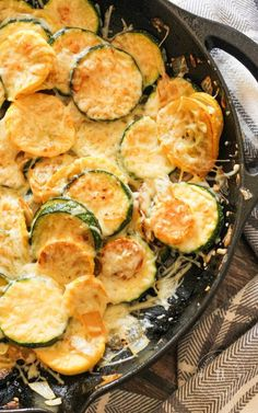 Loaded with zucchini, yellow squash, onions, garlic and topped with parmesan cheese. This Sauteed Zucchini and Yellow Squash recipe is the perfect side! Zuchini And Squash Recipes, Mushroom Zucchini Recipe, Sauteed Zucchini Recipes, Easy Squash Recipes, Yellow Squash Recipes, Sauteed Vegetables, Onion Recipes, Veggie Recipes, Veggies