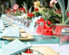 Casamento azul Tiffany e vermelho