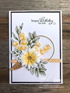Birthday Cards For Women, Handmade Birthday Cards, Happy Birthday Cards, Birthday Cards With Flowers, Birthday Kids, Birthday Parties, Hand Made Greeting Cards, Making Greeting Cards, Stampin Up