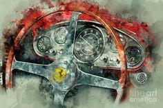 The Prancing Horse Art Print by Jon Neidert - ferrari Car Part Art, Aluminum Foil Art, Automotive Art, Automotive Group, Car Drawings, Technical Drawing, Car Painting, Horse Art, Rolls Royce