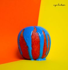 #fruitphotography #photography #paint #apple #blue #orange #yellow #paint #bright #colourful #popart #foodphotography