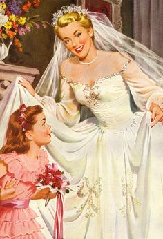 A gorgeous of-the-shoulders wedding dress from 1950 (love the sequins bows on the skirt). #vintage #1950s #wedding #bride