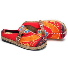 SOCOFY Colorful Embroidered Buckle Folkways Backless Loafers For Women