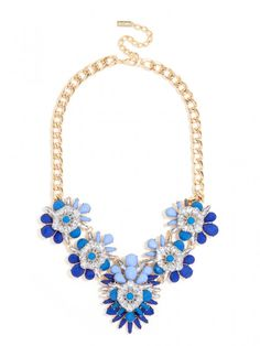 Navy with hints of Carolina Blue Blossom Bib Necklace | BaubleBar