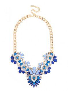 Navy Blossom Bib Necklace | BaubleBar