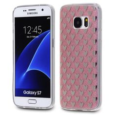 Samsung Galaxy S7 - TPU PC Silver Hearts Design on Pink Glitter Back Cover