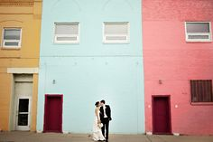 Colorful bride and groom wedding portrait.