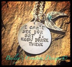 """Hand Stamped """" I know youre there"""" Necklace With Wings"""
